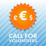 Vector image of currency signs with text call for volunteers. On blue background Stock Image