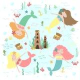 Vector image of cute little mermaids, castle, treasure and sea creatures. Marine hand-drawn illustration of underwater kingdom for stock illustration