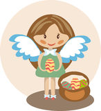 Little nice angel girl with easter eggs Royalty Free Stock Photography