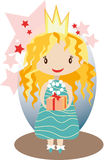 Little nice princess. Vector image of cute nice girl staying with box of present in princess crown Stock Photo