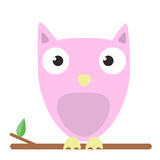 Vector image of a cute pink owl on white background. Vector image of a cute pink owl sitting on tree branch on white background Stock Photography