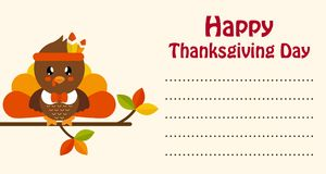 Cute turkey on a branch thanksgiving day card Stock Image