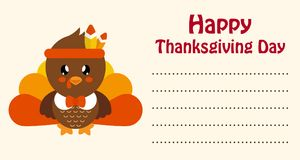 Cute turkey thanksgiving day card vector. Vector image of a cute turkey thanksgiving day card Royalty Free Stock Image