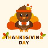 Cute turkey with tie and text Stock Photos