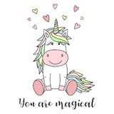 Vector image of a cute unicorn with hearts and the inscription You are magical. Concept of holiday, baby shower, birthday, party, stock illustration