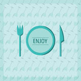 Vector image of cutlery with text enjoy. Conceptual vector image of cutlery with text enjoy Royalty Free Stock Photo