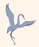 Vector image. Dancing crane Stock Image