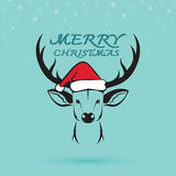Vector image of an deer and santa hats. Stock Photography