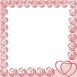 Photo frame with hearts and abstract roses. Vector image for design foto. Photo frame with hearts and abstract roses stock illustration