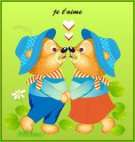 Fantasy illustration of cute little dancing bears. Wedding greeting card with an inscription in French I love you. vector illustration