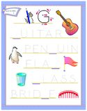 Tracing letter G for study English alphabet. Printable worksheet for kids. Logic puzzle game. Education page for kindergarten. Vector image. Developing children stock illustration
