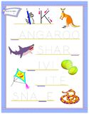 Tracing letter K for study English alphabet. Printable worksheet for kids. Logic puzzle game. Education page for kindergarten. Vector image. Developing children vector illustration