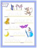 Tracing letter M for study English alphabet. Printable worksheet for kids. Logic puzzle game. Education page for kindergarten. Vector image. Developing children vector illustration