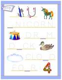 Tracing letter U for study English alphabet. Printable worksheet for kids. Logic puzzle game. Education page for kindergarten. Vector image. Developing children stock illustration