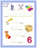 Tracing letter X for study English alphabet. Printable worksheet for kids. Logic puzzle game. Education page for kindergarten. Vector image. Developing children vector illustration