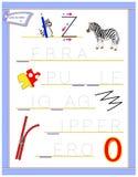 Tracing letter Z for study English alphabet. Printable worksheet for kids. Logic puzzle game. Education page for kindergarten. Vector image. Developing children vector illustration