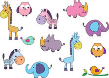 Vector image of different cute cartoon animals Stock Photography