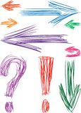 Doodle arrows. Vector image of a different hand drawn arrows royalty free illustration