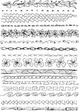 Doodle borders. Vector image of a different hand drawn borders vector illustration