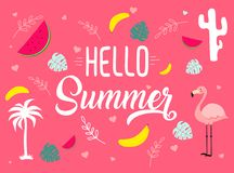 Image with different icons. Hello summer tagline Royalty Free Stock Images