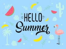 Image with different icons. Hello summer tagline Stock Images