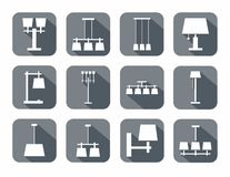 Vector image of different types of lamps. For home and office. White icons on gray background with shadow royalty free illustration