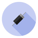 Vector image of a diode. On a round background Royalty Free Stock Photos