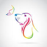 Vector image of dog and butterfly. On white background vector illustration