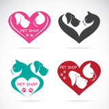Vector image of an Dog and cat with heart. On white background Stock Photo