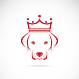 Vector image of a dog head wearing a crown Stock Photography