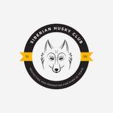 Vector image of a dog siberian husky design on white background. And yellow background, Logo, Symbol, Animals. Siberian Husky Club Royalty Free Stock Photos