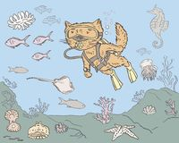 Cat diver hunting for fish. Vector image of the domestic cat diving into the sea Stock Images