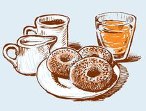 Donuts with coffee and juice vector illustration