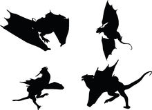 Vector Image - dragon silhouette in hunting run  on white background Royalty Free Stock Photos