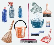 Sketches of the objects for cleaning. Vector image of the drawn objects for cleaning Royalty Free Stock Photo