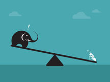 Vector image of an elephant and ant. Weighing concept Royalty Free Stock Photos