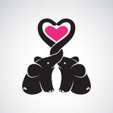 Vector image of elephant and heart Royalty Free Stock Images