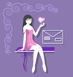 Vector Image eps8. Silhouette friendly girl sitting on the bench. Vector vector illustration