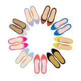 Vector image of female summer shoes. Casual style Stock Photo