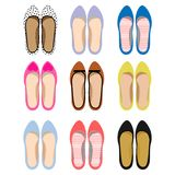 Vector image of female summer shoes. Set of female summer shoes. Casual style. Vector illustration Stock Images