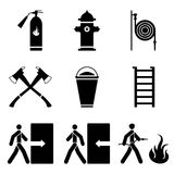Vector image of fire extinguishing icons - fire extinguisher, fire hydrant, fire hose, ax, sand, ladder. Flat. Vector image of fire extinguishing icons - fire Stock Photos