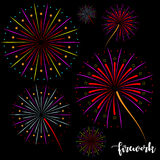 Vector image firework. With background black Stock Photo
