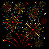 Vector image fireworks icons. For your ornament background Stock Photos