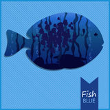 Vector image of an fish on blue background. Vector image of fish on a blue seascape striped background with inscription and shadow Royalty Free Stock Photo