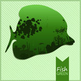 Vector image of an fish on green background. Vector image of the fish with sea view on the green striped background with inscription and shadow Stock Photos