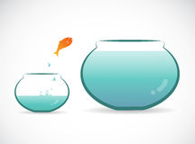 Vector image of an fish jumping out of aquarium. Royalty Free Stock Image
