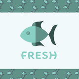 Vector image of fish reading fresh. Against white background Royalty Free Stock Image