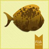 Vector image of an fish on yellow background. Vector image of the fish with sea views on a yellow striped background with inscription and shadow Stock Image