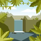 Flat geometric jungle background stock illustration