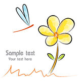 Vector image of an flower and dragonfly Royalty Free Stock Image